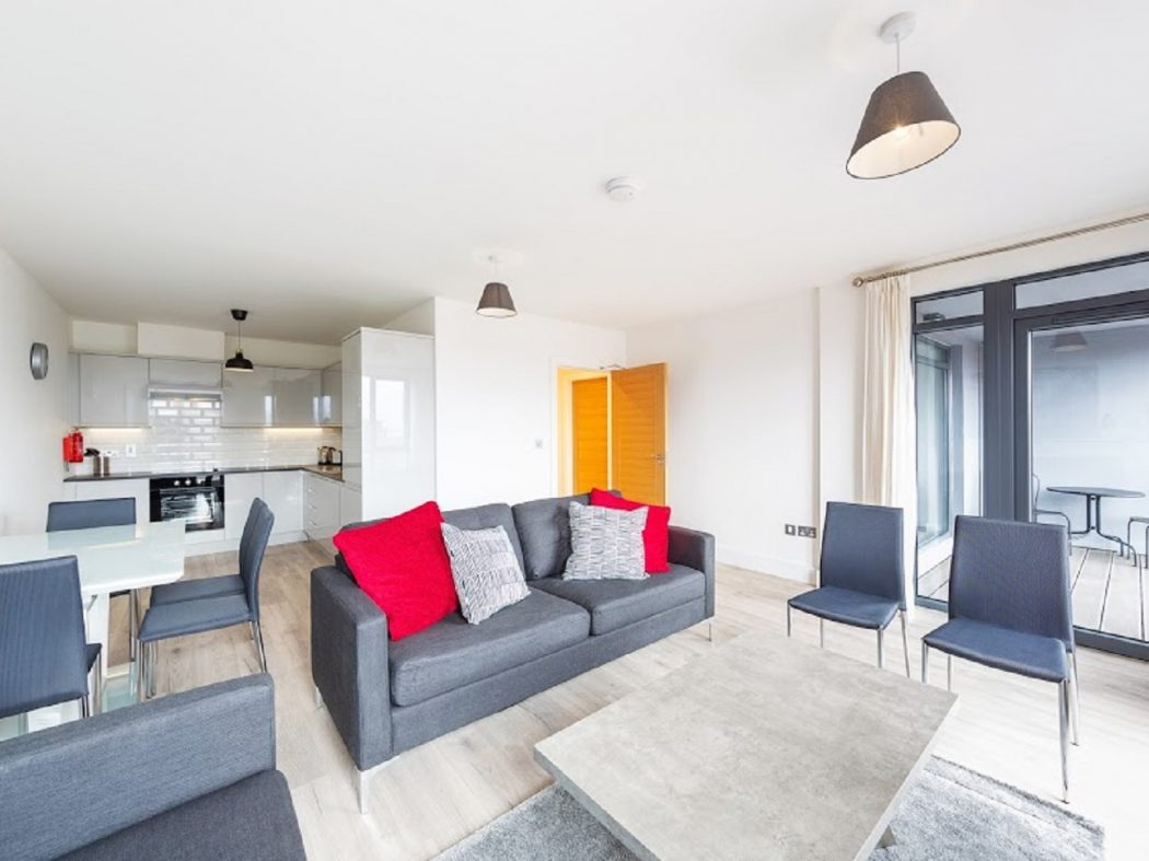 Living area, balcony, kitchen