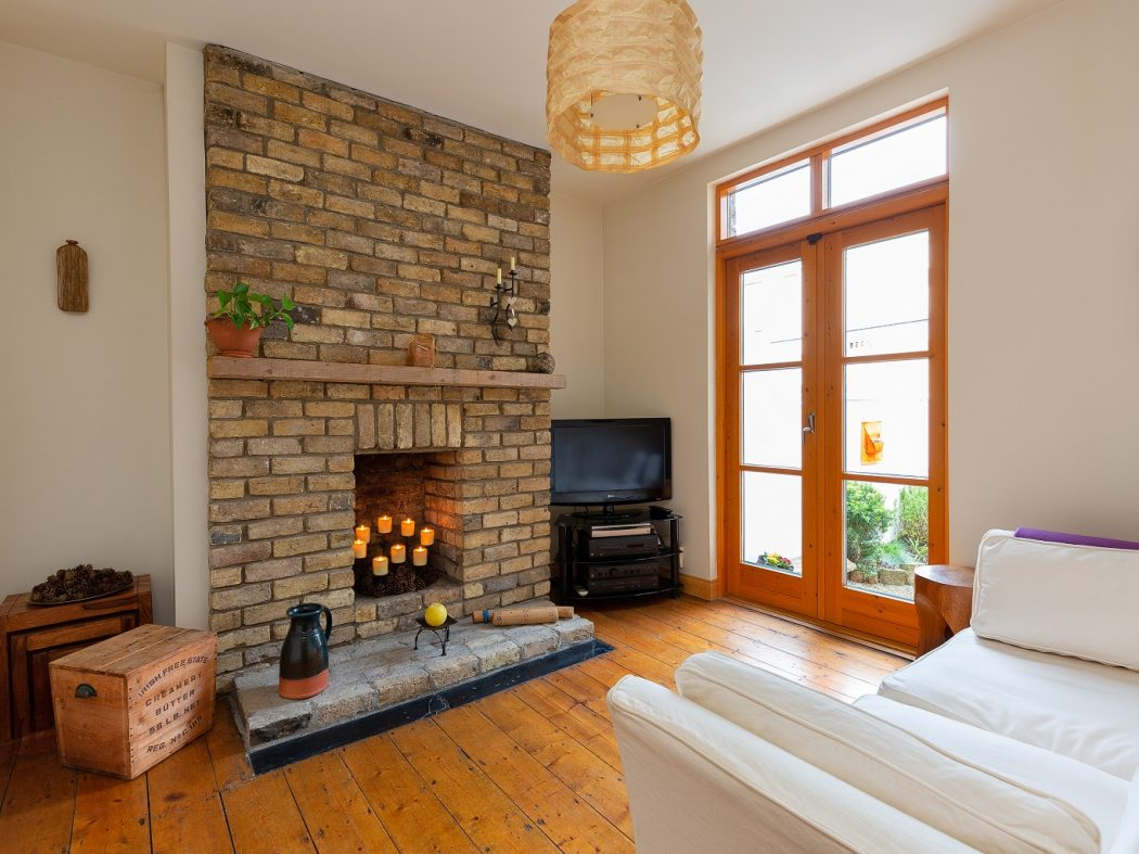 34 Reuben Ave - Living Room with brick Fireplace