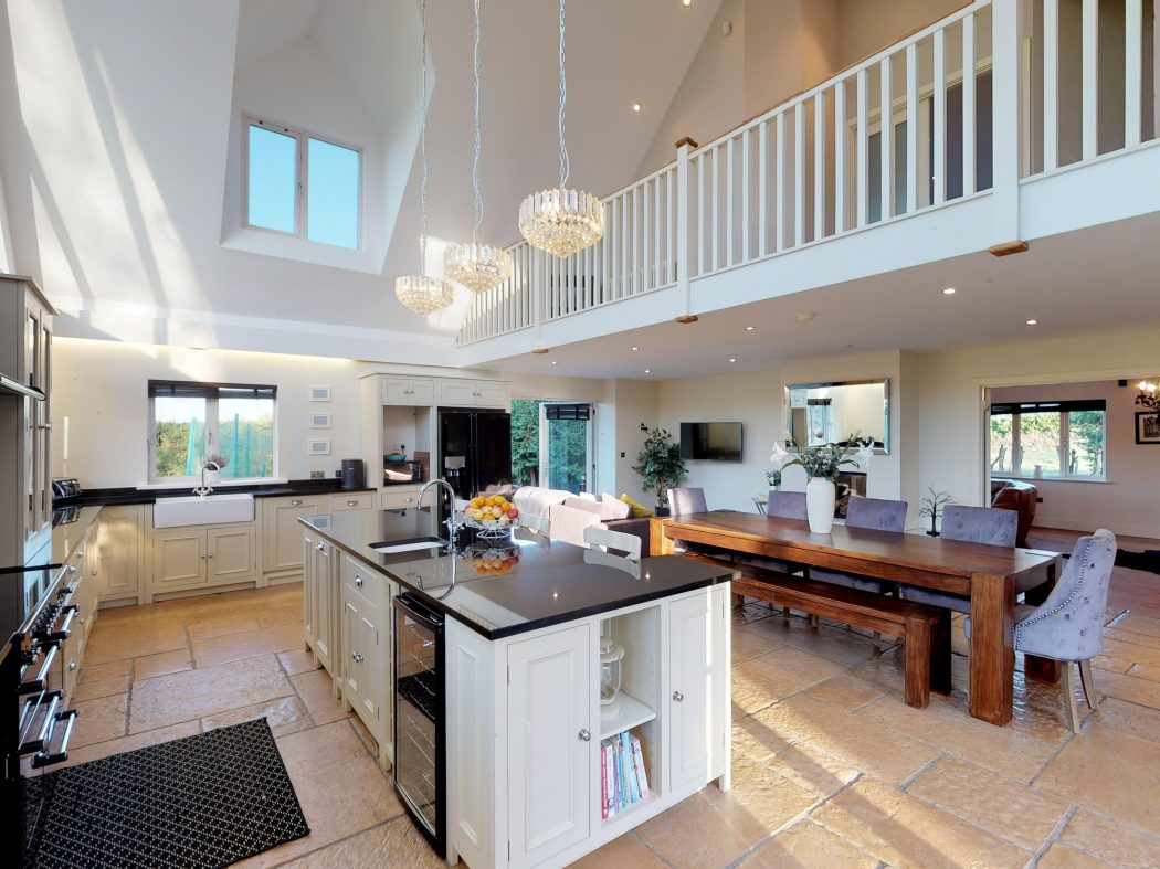 downstairs kitchen with mezzanine